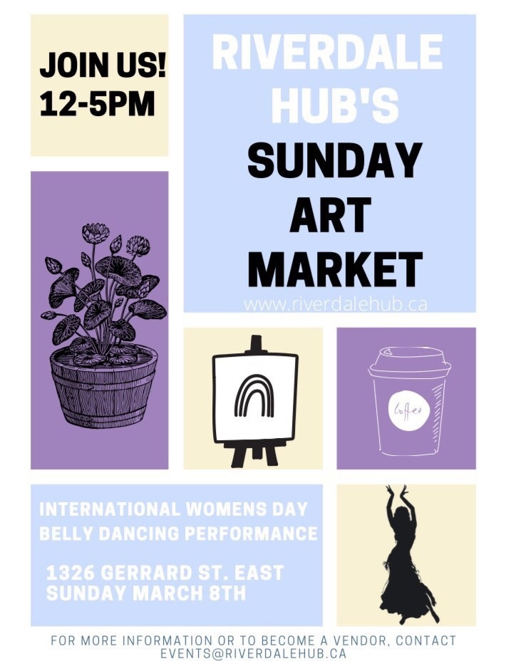 Riverdale Hub Sunday Art Market Toronto March 8, 2020