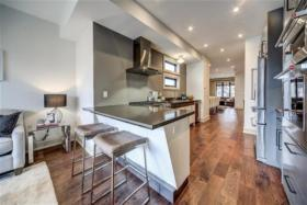 77 Hastings Avenue open concept kitchen with breakfast bar